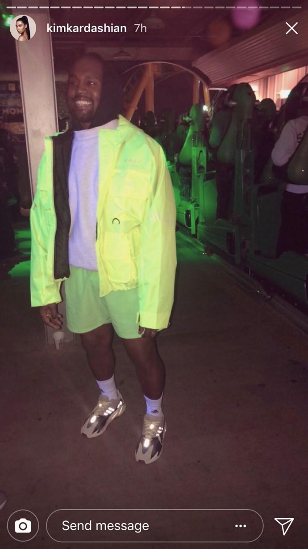 Kanye West at Travis Scott's birthday party.