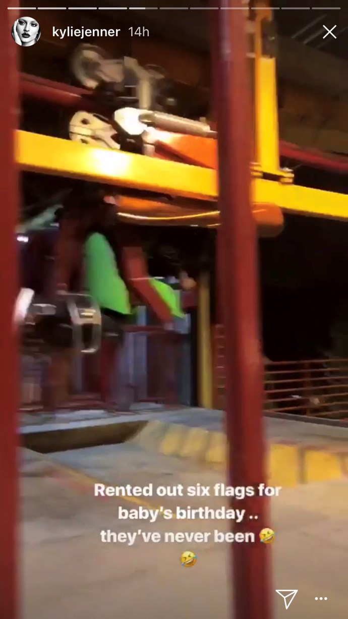 Kylie films the boys on the rollercoaster at Travis Scott's birthday party.