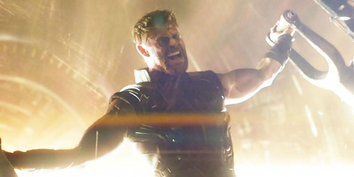 **Thor**  The hammer-wielding god of thunder is actual perfection. And the scene above is straight-up arousing.