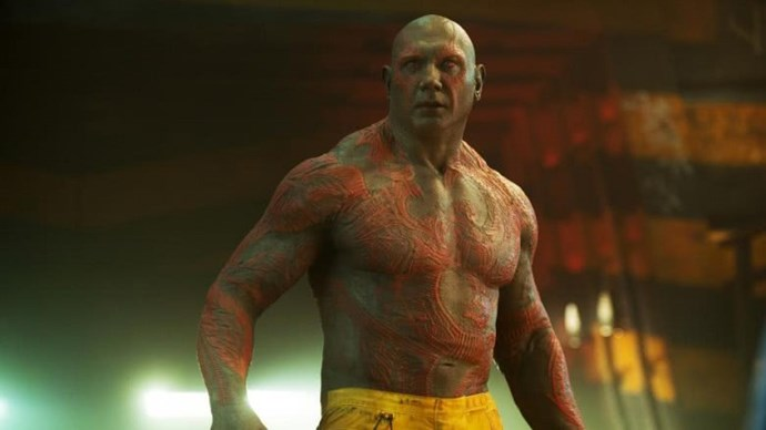 **Drax**  Has a permanent case of blue balls – definite downside. But we'd take a Batista bomb from him any day. Also, he's hilarious, albeit intentionally.