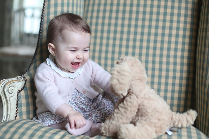 Princess Charlotte at six months; a photo taken by her mother at the family's residence Anmer Hall in Norfolk.
