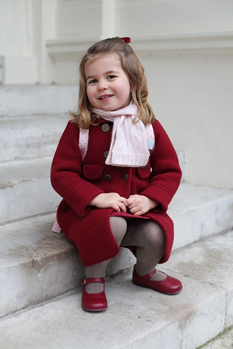 A picture of Princess Charlotte starting nursery school, taken by her mum.