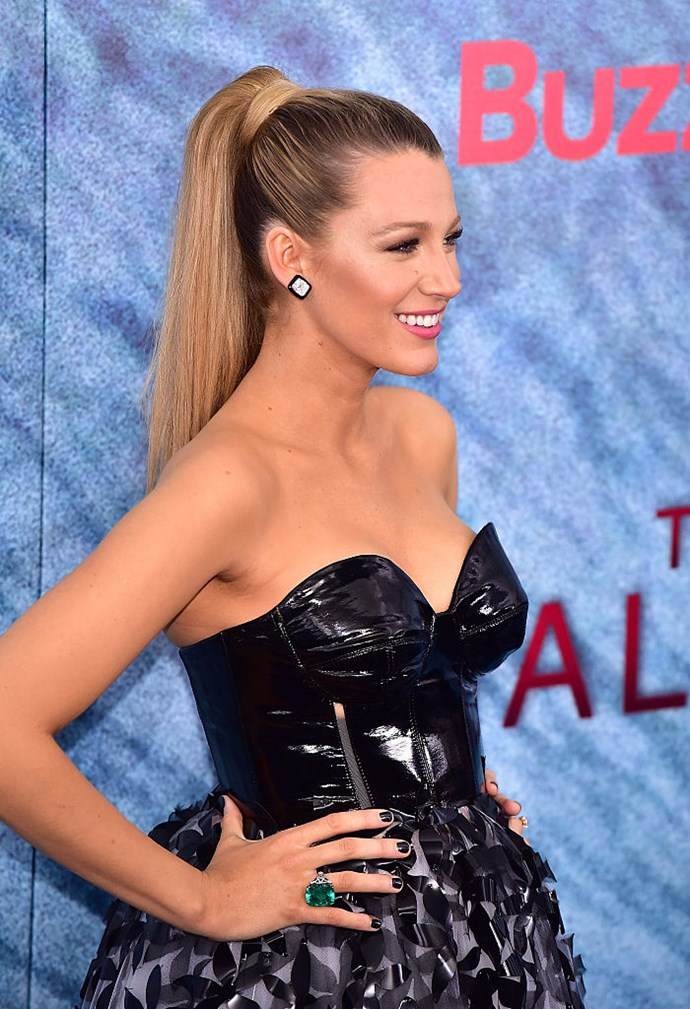 The higher the hair, the closer to god, right Blake? For the world premiere of *The Shallows,* Lively opted for a sleek sky high-ponytail.