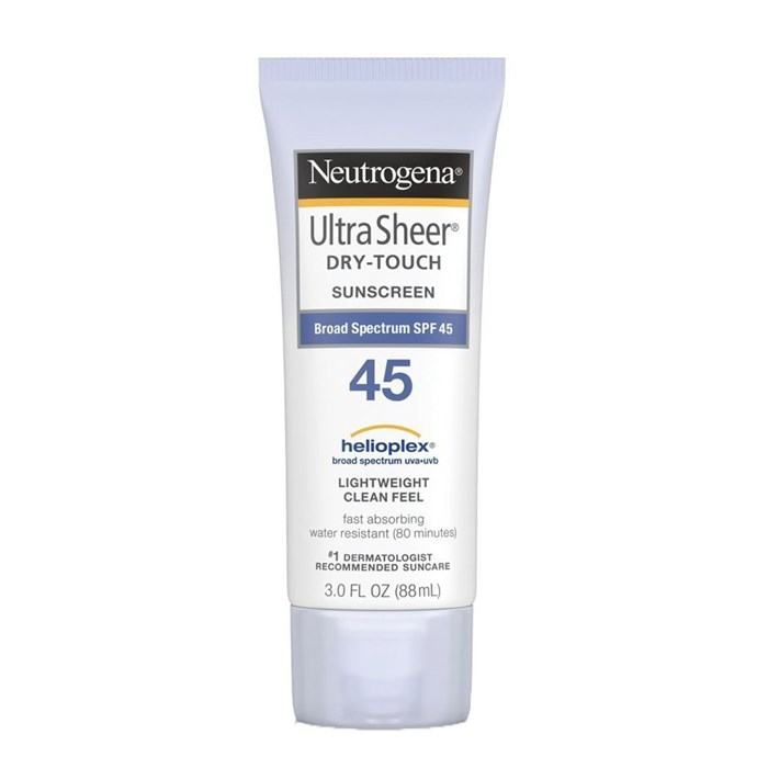 """Neutrogena Ultra Sheer Dry-Touch Sunscreen SPF45, $17 at [Amazon](https://www.amazon.com/gp/product/B0013OMHTE/ref=ox_sc_act_title_1?smid=A3S588S5LPPRZZ&th=1
