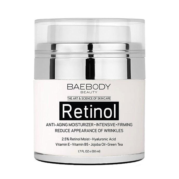 "Baebody Retinol Facial Moisturiser with Retinol, Hyaluronic Acid and Vitamin E, $26 at [Amazon](https://www.amazon.com/Baebody-Retinol-Moisturizer-Cream-Face/dp/B01FLO5914/ref=as_li_ss_tl?_encoding=UTF8&psc=1&refRID=0G9WMCTXX6HTF9GE41S3&linkCode=sl1&tag=allure0c3-20&linkId=23e0fdc4906bfa675e2358a52d705933|target=""_blank""|rel=""nofollow"")"