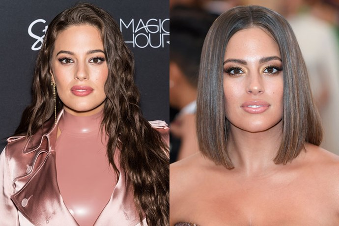 """**Ashley Graham** <br><br> In her biggest hair transformation to date, Ashley chopped her long locks into a sharp lob just before she stepped onto the Met Gala 2018 red carpet. And it seems like it was quite the impulsive decision!  <br><br> According to [*Allure*](https://www.allure.com/story/ashley-graham-met-gala-2018-bob-haircut-makeup-details