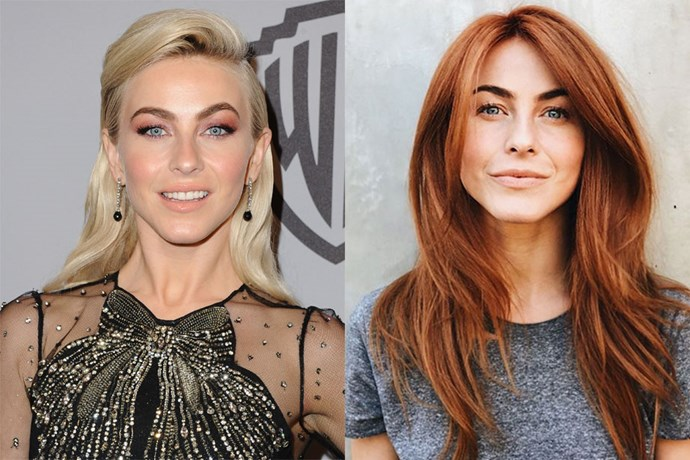 """**Julianne Hough** <br><br> The actress and dancer kicked off her new year by fulfilling her lifelong dream of dyeing her hair red. She ditched her peroxide blonde locks in favour of the fiery hue, and couldn't have been more pleased with the results <br><br> """"I have never felt more like ME than I do right now!! I have always felt like a red head my whole life,"""" said Hough on Instagram. """"I've seriously talked about doing this for 6 years, ask anyone who knows me...and now that I'm on this new journey, exploring and finding out who I truly am."""""""
