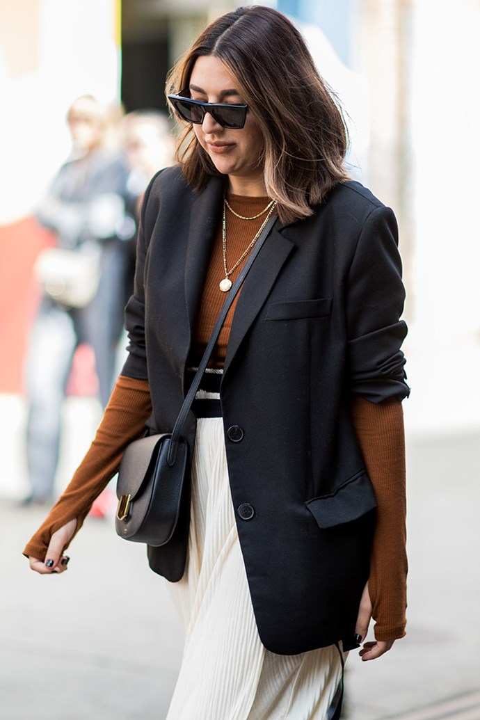 2. Shrug on a slouchy blazer