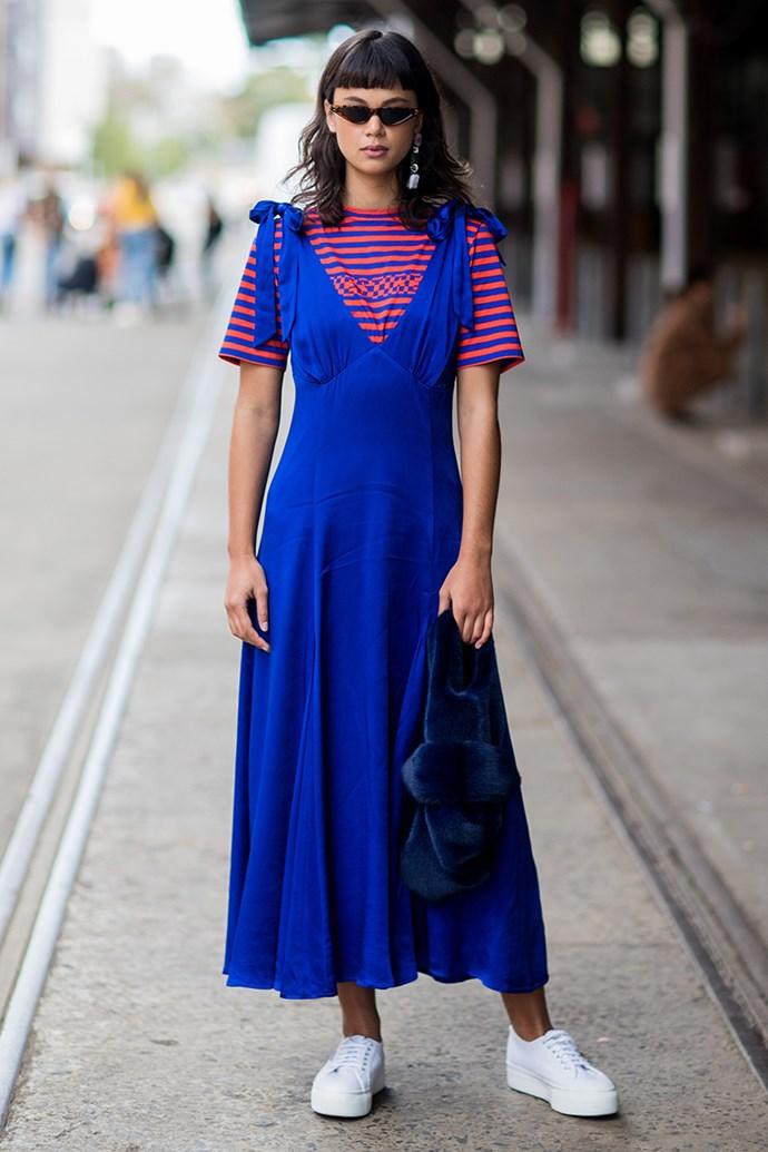 4. Layer a t-shirt under a low cut dress