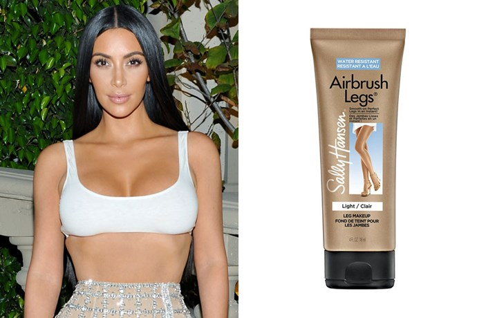 "**Kim Kardashian** <br><br> Kim K's go-to for a flawless tan is surprisingly affordable. For a quick, at-home tan, the reality star turns to Sally Hansen's Airbrush Legs Lotion ($13 at [Chemist Warehouse](https://www.chemistwarehouse.com.au/buy/76872/Sally-Hansen-Airbrush-Legs-Medium-Lotion-118ml|target=""_blank""