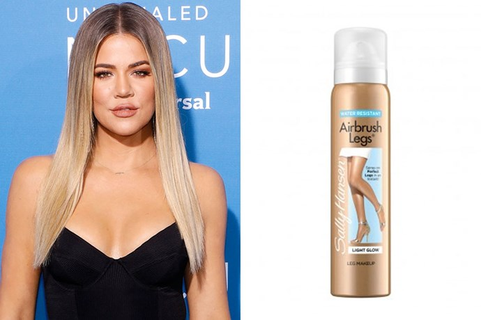 "**Khloe Kardashian**  <br><br> Kim's sister, Khloe Kardashian, is also a fan of the good 'ol Sally Hansen tanner. In a [post on her website](https://www.khloewithak.com/xo/1616-khloe-kardashian-my-secret-instantly-flawless-legs/|target=""_blank""