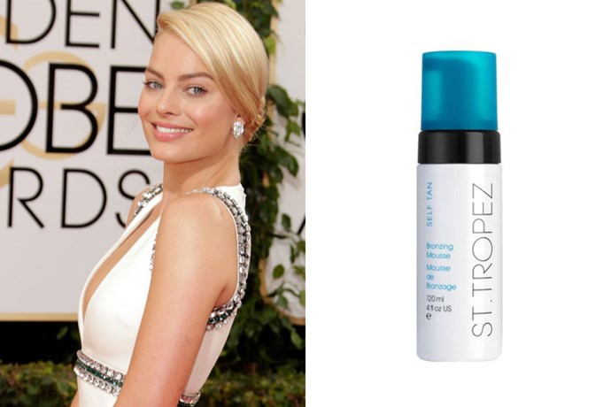"**Margot Robbie** <br><br> In [her Golden Globes debut](https://www.sttropeztan.co.uk/blog/goldenglobes2014/#.WwYwOu6FNhF|target=""_blank""