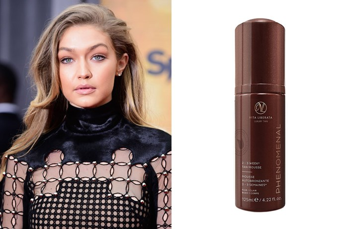"**Gigi Hadid** <br><br> To amp up her Cali girl tan, the model [swears by](https://www.byrdie.com.au/gigi-hadid-tan|target=""_blank""