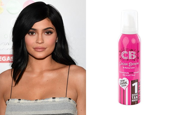 "**Kylie Jenner** <br><br> As well as her new fave Aussie tanning brand, Ky has also [given props to her favourite product](https://www.mirror.co.uk/3am/celebrity-news/kylie-jenner-promotes-fake-tan-5843857|target=""_blank""