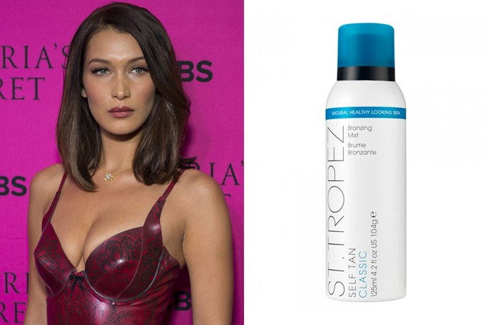 "**Bella Hadid** <br><br> To prep for her 2017 Victoria's Secret Fashion Show audition, [the model applied](https://www.sttropeztan.co.uk/blog/get-victoria-secret-angel-glow/#.WwZAv-6FNhE|target=""_blank""