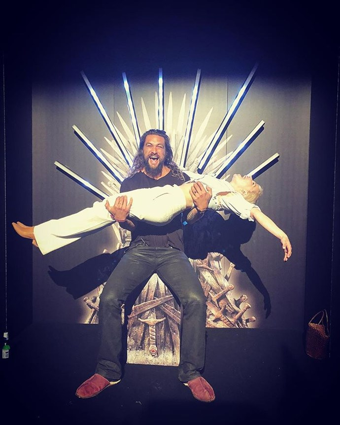 Drogo finally got to sit on the Iron Throne with his queen.