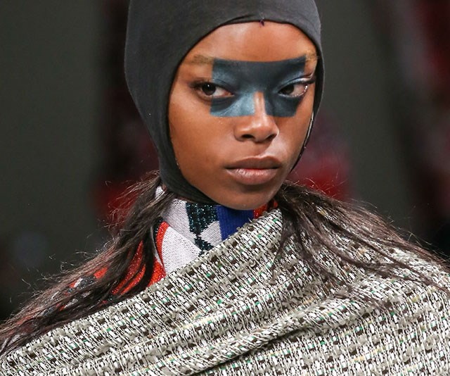 **Geometric metallic shapes** <br><br> You can't accuse the Brits of playing it safe; again at London Fashion Week, models at the Matty Bovan show wore slabs of metallic colour smack bang in the middle of their face.
