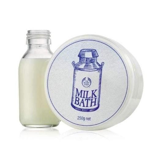 "Milk Bath, $18 at [The Body Shop](https://www.thebodyshop.com/en-au/body-care/spa-treatments/milk-bath/p/p002689|target=""_blank"")."