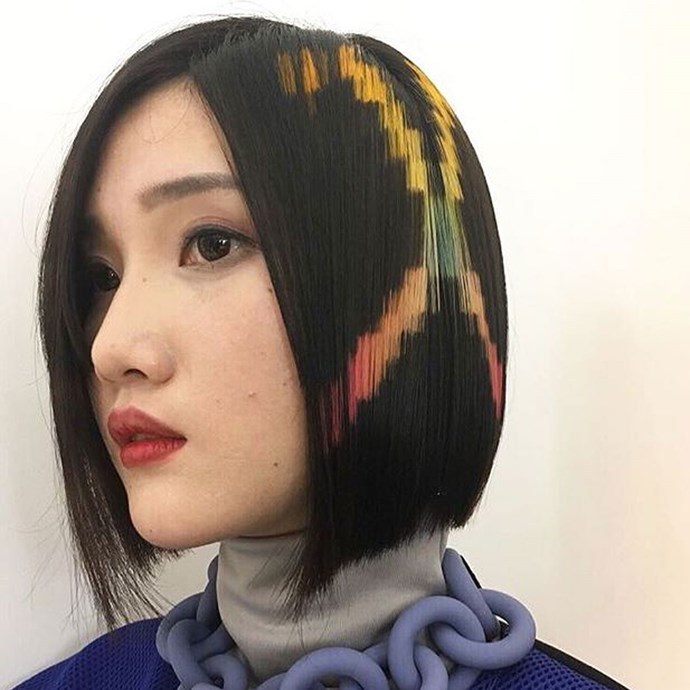 "**Pixelated Hair** <br><br> This, *erm*, unique technique was born out of Madrid-based hair group [X-presion Creativos](https://instagram.com/xpresioncreativos/?utm_source=ig_embed|target=""_blank""