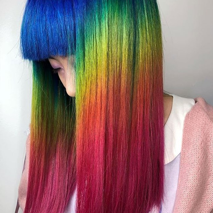 "**Pride Month Hair** <br><br> While rainbow-tinted locks work well year 'round, they couldn't be more suited to the month of June A.K.A Pride Month. After her client requested a hair-specific tribute to the special month, Brooklyn-based colourist, [Hannah Edelman](https://www.instagram.com/hannahthepainter/?utm_source=ig_embed|target=""_blank""