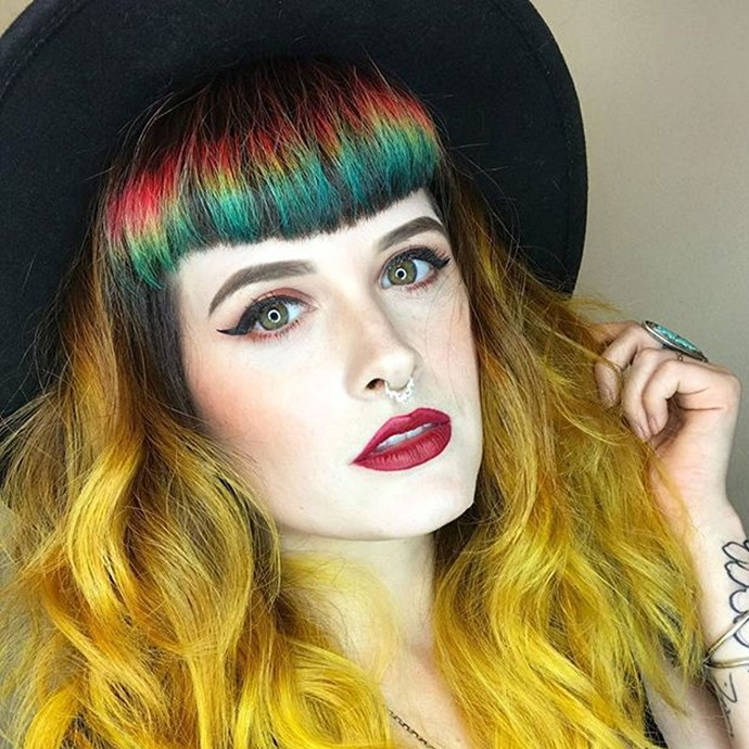 "**Rainbow Bangs** <br><br> This [super niche dye job](https://www.cosmopolitan.com.au/beauty/rainbow-bangs-hair-colour-trend-26185|target=""_blank"") is equal parts bizarre and magical. In an effort to change up her hair sans excess damage, colourist [Caitlin Ford](https://instagram.com/caitlinfordhair/?utm_source=ig_embed