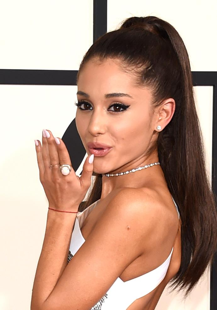 **February 2015**<br><br>  While attending the 2015 Grammy Awards, Grande was seen sporting prominent winged eyeliner, which today is a part of her trademark look.