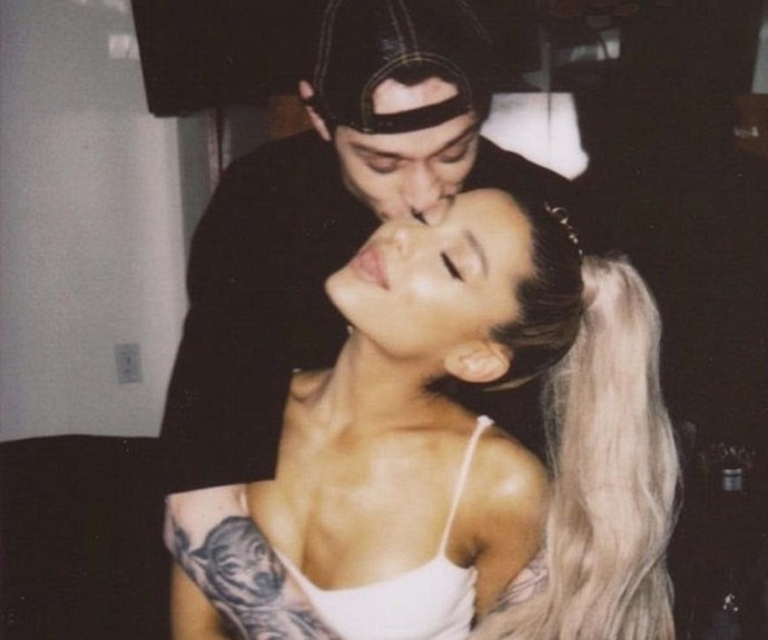 """Ariana Grande and Pete Davidson <br><br> After only a month of dating (and less than 2 months of breaking up with their previous partners), Ariana Grande and Pete Davidson decided to settle in for the long haul. Also, the [ring is massive](https://www.cosmopolitan.com.au/celebrity/ariana-grande-pete-davidson-engagement-instagram-official-27130