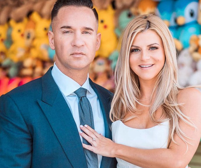 """Mike 'The Situation' Sorrentino and Lauren Pesce <br><br> *Jersey Shore'*'s Mike """"The Situation"""" Sorrentino is tying the knot to college sweetheart Lauren Pesce. They made it official with a post on insta with Sorrentino getting down on one knee, captioned """"GYM, TAN WE'RE ENGAGED!!"""""""