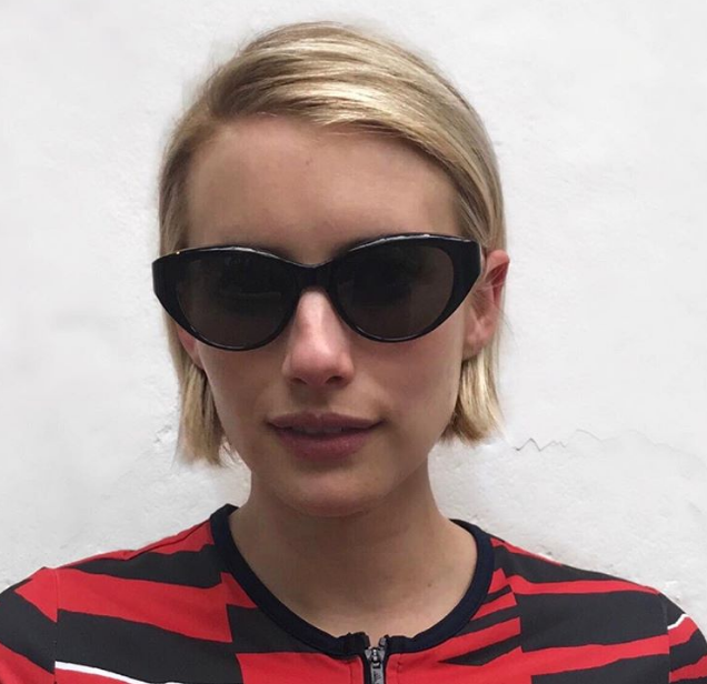 Emma Roberts cut her mane to graze her hairline.