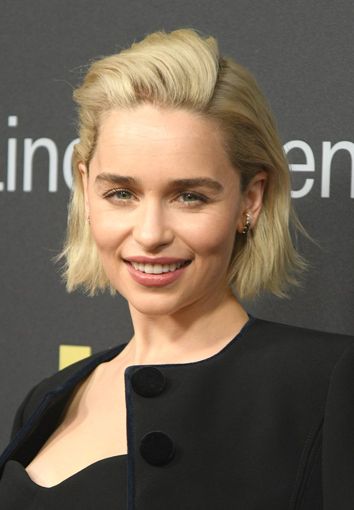 Emilia Clarke cut off her signature long platinum blonde locks to a shorter style that would likely be easier to manage for this mother of dragons.