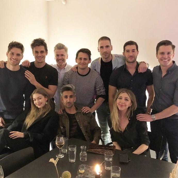 When Gigi and Antoni were at Tan's birthday dinner.   Image: Instagram