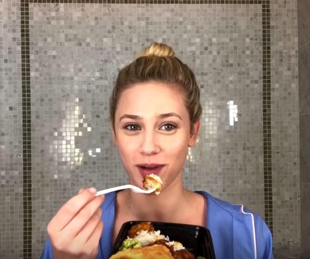 'Riverdale' star Lili Reinhart filmed a makeup tutorial while eating wontons