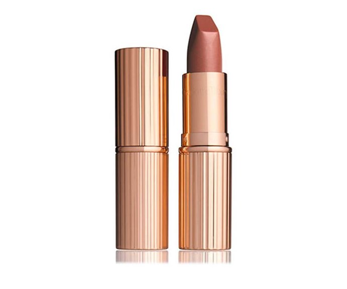 "**Charlotte Tilbury Matte Revolution Lipstick in [Very Victoria](https://www.elle.com.au/beauty/meghan-markle-beauty-products-makeup-15180|target=""_blank"")** <br><br> Former *Suits* actress and newly-appointed royal Meghan Markle loves this lipstick by Charlotte Tilbury. Apparently, she was even wearing it in the royal engagement photos! It's a beautiful shade of nude and just a tad darker than your average."
