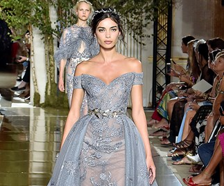 Blue wedding dress.