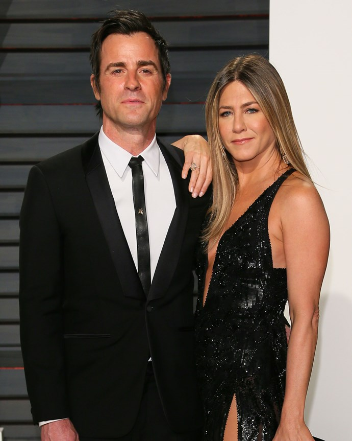 "**JENNIFER ANISTON AND JUSTIN THEROUX** <br><br> After two-and-a-half years of marriage, Jennifer Aniston and Justin Theroux [made the mutual decision](https://www.cosmopolitan.com.au/celebrity/jennifer-aniston-justin-theroux-breakup-25928|target=""_blank"") to part ways.  <br><br> The couple released a joint statement back in February, beating the breakup rumours to the punch and explaining why they decided to end their seven year relationship. ""Normally we would do this privately, but given that the gossip industry cannot resist an opportunity to speculate and invent, we wanted to convey the truth directly,"" said the statement released by Jen's publicist, Stephen Huvane. <br><br> Although the breakup was announced in February, the couple had apparently been separated for months before. They reportedly [reunited one last time](https://www.elle.com.au/celebrity/jennifer-aniston-justin-theroux-meet-valentines-day-15877