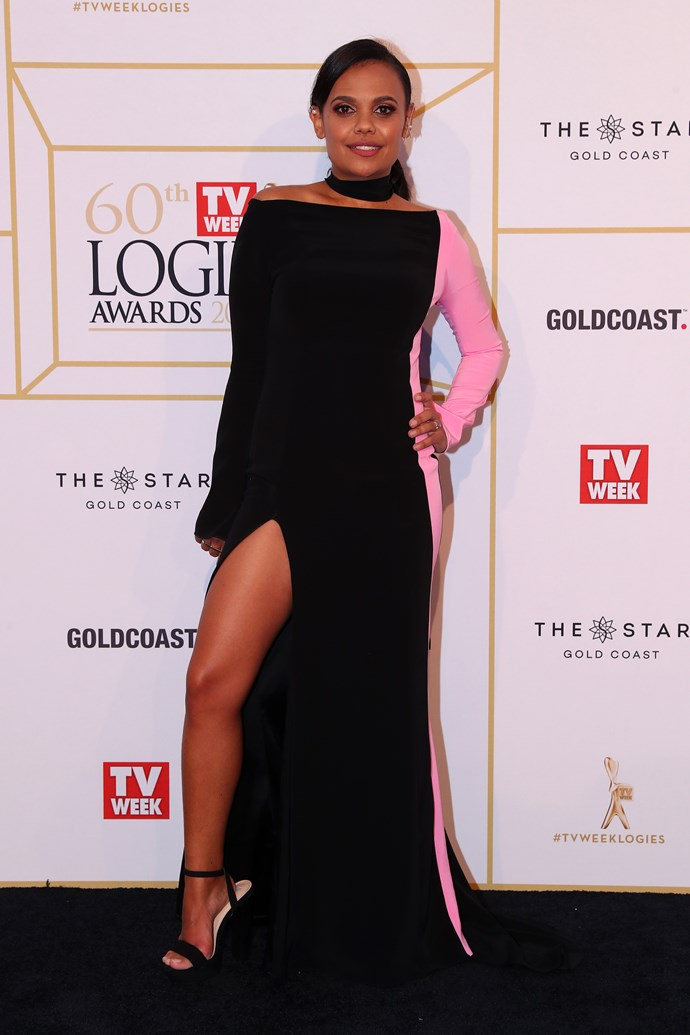 Miranda Tapsell delivering that Angelina Jolie leg pop like she invented it.