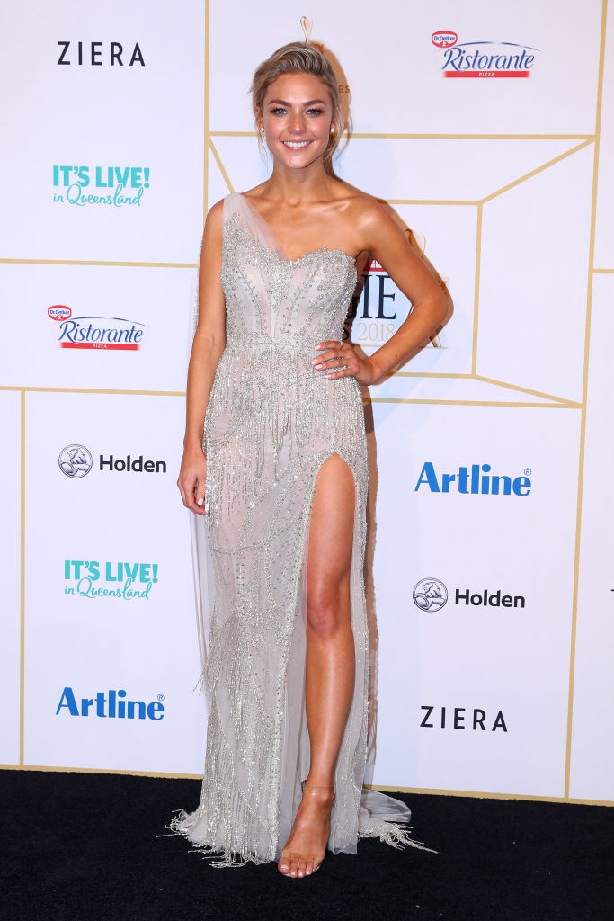 Sam Frost looking like she stepped out of the Gold Coast surf and straight into a gown.