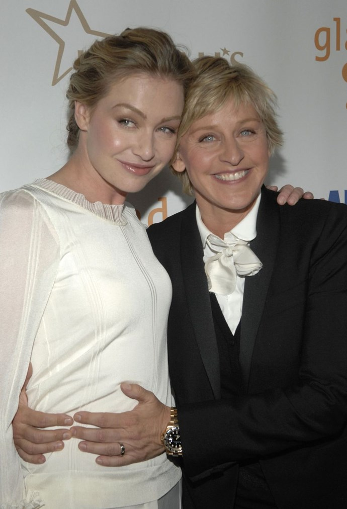 "**2008: Ellen Degeneres and Portia de Rossi** <br><br> In 1997, DeGeneres came out (on her show and in real life) and generated a lot of press (and a lot of controversy from, you know, idiots). Cut to 2008 when every magazine wants pictures of DeGeneres's wedding and millions of fans (and hundreds of audience members) squeal in delight at Ellen's [wedding monologue](https://urldefense.proofpoint.com/v2/url?u=https-3A__www.youtube.com_watch-3Fv-3DNeUm3vHYOtw&d=CwMFaQ&c=B73tqXN8Ec0ocRmZHMCntw&r=_lVDcfhZeapwSNppss3VUg6RNC_xa8WGYq9yIby-ylo&m=HuY0LgaI-eG2rK-xBPQ1ldVsU40jQw5ngoA0lLO1J8E&s=rkbC-XXapuKuNYO-re3ce8UXg6xxg2SN4Aq7KwUNRkE&e=|target=""_blank""