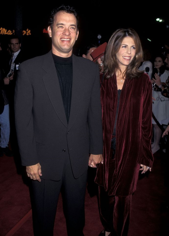 **1995: Tom Hanks and Rita Wilson** <br><br> It's great to acknowledge couples that have stood the test of time, so here's to Tom Hanks and Rita Wilson, who are still together (may we never have to update this article). Fresh off back-to-back Oscar wins for Philadelphia and *Forrest Gump*, Hanks starred in two more unforgettable movies this year: *Toy Story* and *Apollo 13*.