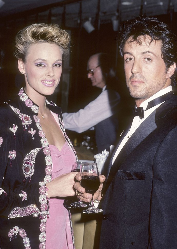 **1985: Sylvester Stallone and Brigitte Nielson** <br><br> This year saw the release of *Rocky IV and Rambo: First Blood Part 2*. Stallone was a huge action movie star and Nielson a young model.