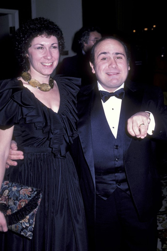 **1982: Danny Devito and Rhea Pearlman** <br><br> DeVito was starring in *Taxi* and *Pearlman* (who also had a role in *Taxi*) was in *Cheers*, two of the biggest shows of the time, when they tied the knot this year.