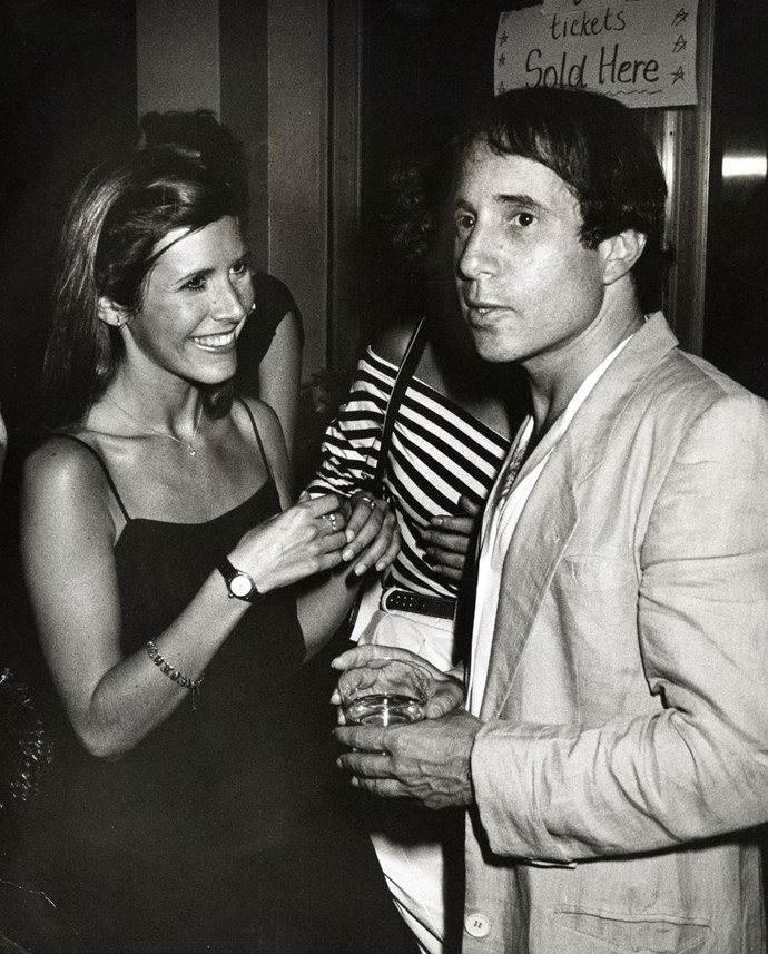 **1980: Paul Simon and Carrie Fisher** <br><br> This year, Simon released *One-Trick Pony*, the album and the movie, which he wrote and starred in. Fisher reprised her role as Princess Leia in *The Empire Strikes Back*. So, needless to say, it was a pretty epic time for the pair.