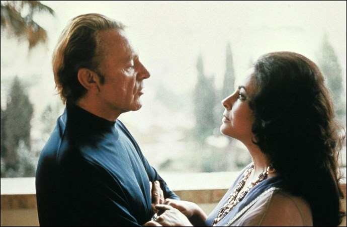 **1975: Liz Taylor and Richard Burton** <br><br> Them again! This year marked the second marriage for this tumultuous duo, who smoldered together in *Cleopatra* in 1963, married in 1964, and got divorced in 1974 only to get married again in '75. Sure, it was an up-and-down relationship, but it was always interesting.