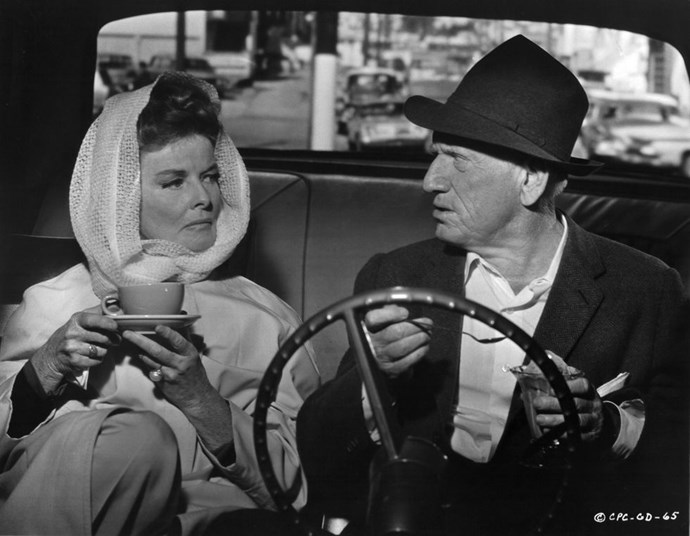 **1966: Katharine Hepburn and Spencer Tracy** <br><br> This one's a bit controversial, because Tracy never left his wife for Hepburn. Still, their crackling on-screen chemistry in an incredible list of classic films make them one of the most famous couples of all time. Tracy died in 1967 and the pair's last film was also released that year, the ever-important *Guess Who's Coming to Dinner?*