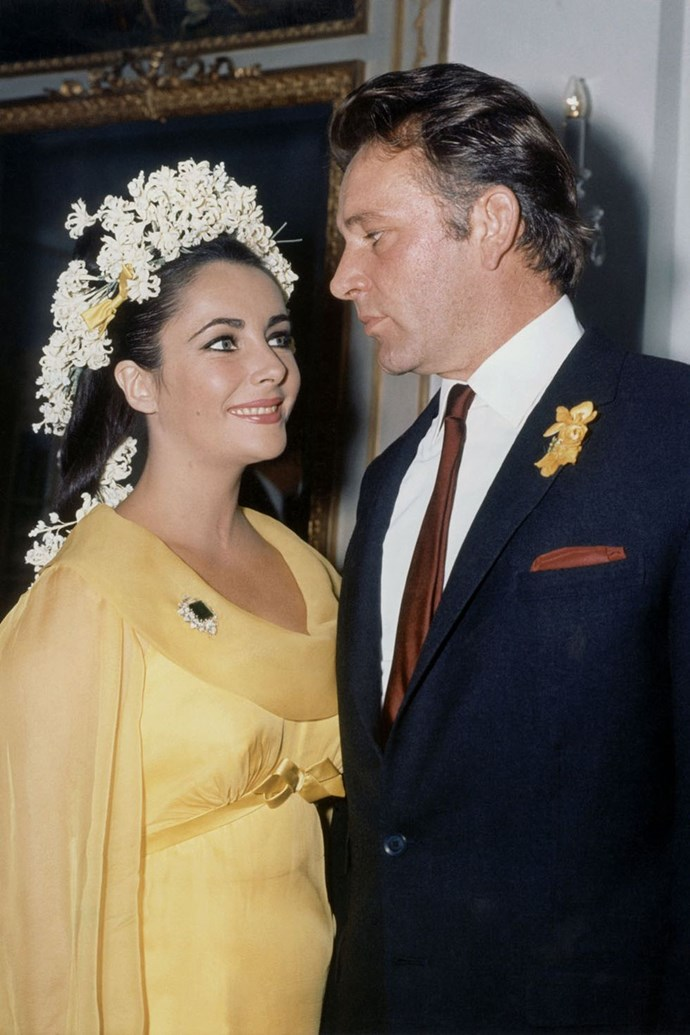 **1964: Liz Taylor and Richard Burton** <br><br> Remember earlier, when Liz Taylor and Eddie Fisher got divorced? It was because of this guy, who Taylor met while filming Cleopatra. They began an on-set affair circa 1962, and in 1964, nine days after getting divorced from Fisher, Taylor married Burton. Don't worry — they'll be back.