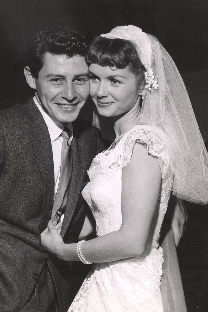 **1955: Debbie Reynolds and Eddie Fisher** <br><br> Reynolds was a Hollywood sweetheart who'd appeared in *Singin' in the Rain*; Fisher was a beloved singer and actor. They married in 1955 (and had two children, Carrie Fisher and Todd Fisher), but divorced in 1959 after Fisher's very public affair with Liz Taylor.