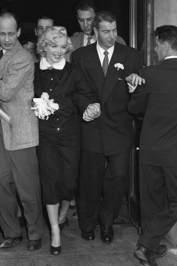 "**1953: Marilyn Monroe and Joe DiMaggio** <br><br> In 1952, the [already iconic Monroe](https://www.elle.com.au/news/marilyn-monroes-life-in-pictures-9877|target=""_blank""