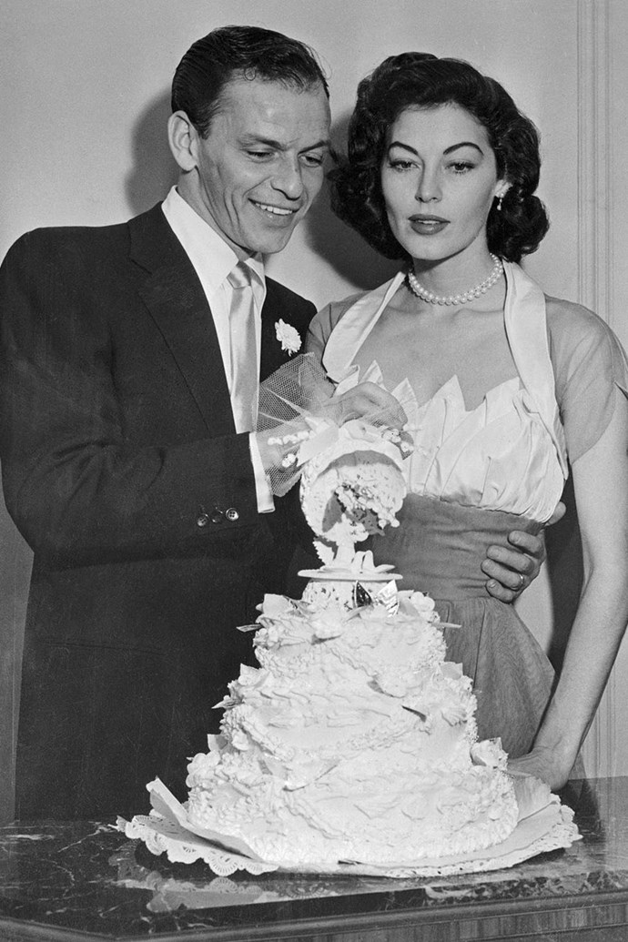 "**1951: Frank Sinatra and Ava Gardner** <br><br> What began as an often described ""wild"" affair between Sinatra and Gardner turned into a real-deal relationship and marriage, which lasted from 1951 (when Sinatra's first wife gave him a divorce) to 1953 (when the couple formally announced their split). Sinatra and Gardner had affairs with other people until their divorce was finalised in 1957."
