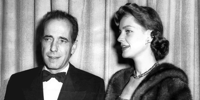 **1950: Lauren Bacall and Humphrey Bogart** <br><br> Arguably the most iconic Hollywood couple of all time, Bogie and Bacall met while filming 1944's *To Have and Have Not*. They married in 1945 and made three more movies together — *Key Largo*, *Dark Passage*, and *The Big Sleep* — before Bogart's death from cancer in 1957.