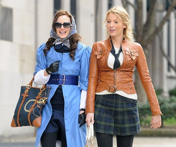 Leighton Meester Blake Lively Gossip Girl set
